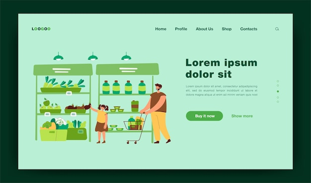 Happy father and daughter buying food in supermarket flat  illustration. cartoon dad wheeling shopping cart. girl taking vegetable from aisle. grocery store and parenthood concept landing page