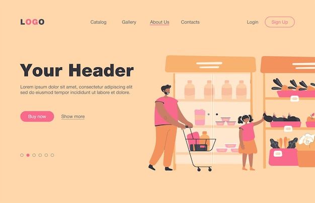 Happy father and daughter buying food in supermarket flat  landing page. cartoon dad wheeling shopping cart. girl taking vegetable from aisle. grocery store and parenthood concept