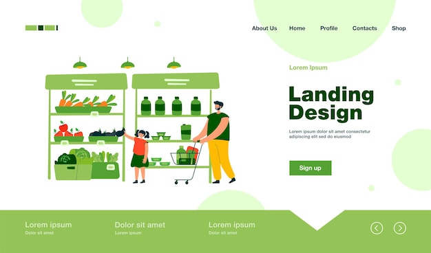Happy father and daughter buying food in supermarket landing page in flat style