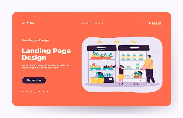 Happy father and daughter buying food in supermarket landing page