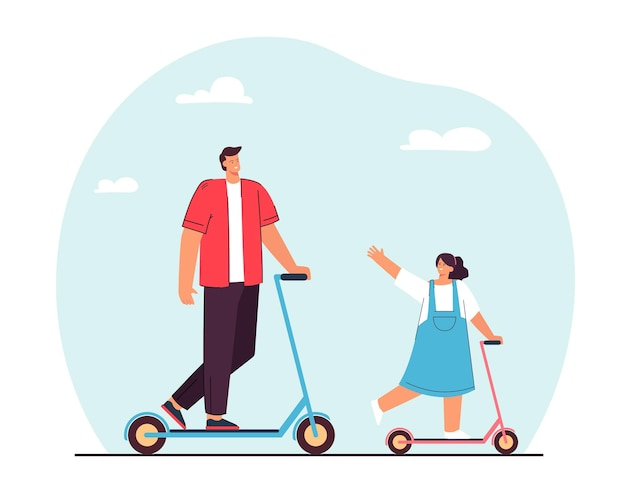 Happy father and daughter riding scooters flat illustration