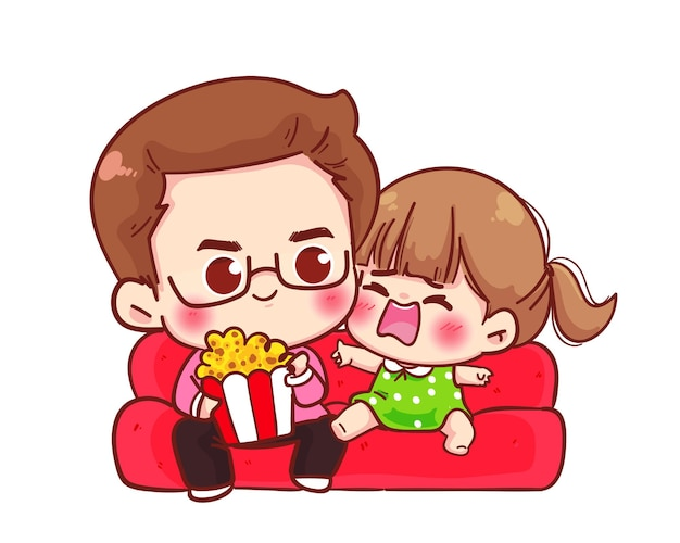 Happy father and daughter with popcorn watching tv at home cartoon illustration