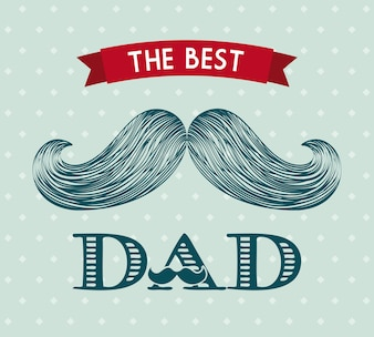Happy father day card with mustache icon