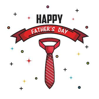 リボンと赤いストライプのネクタイが付いている幸せな父の日カード
