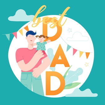 Happy father day concept card with smiling dad character holding child. vector modern trendy illustration for cover, holiday banner, sale background