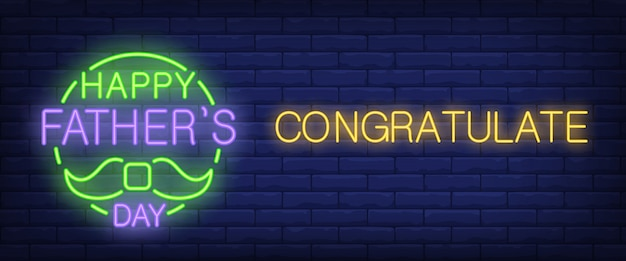 Happy father day, congratulate neon text with moustache