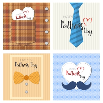 Happy father day family holiday, retro greeting card collection