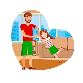 Happy father day flat vector isolated illustration