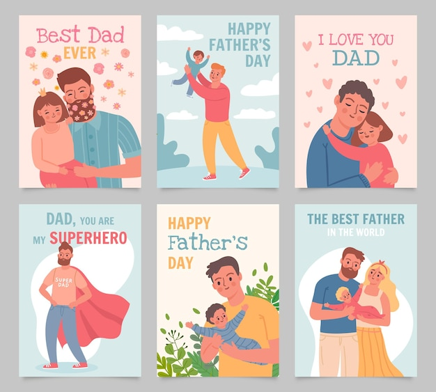 Happy father day. gift cards with fathers and kids. man hug daughter, play with son and baby. superhero dad, best father poster vector set. illustration day dad, happy father love with child