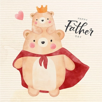 Счастливый день отца с милым медведем