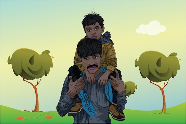 Happy father day with son is riding his fathers shoulder