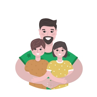 Happy father hugs his son and daughter isolated vector illustration
