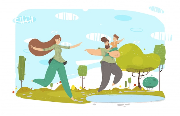 Happy father, mother and kid near lake cartoon