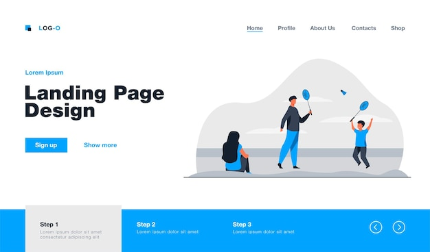 Happy father playing badminton with son landing page in flat style
