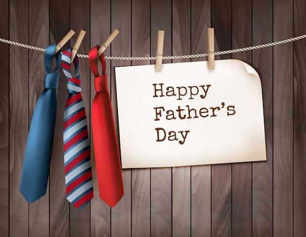木製の背景に3つのネクタイと幸せな父の日の背景。ベクトルイラスト