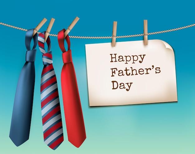 3つのネクタイで幸せな父の日の背景。ベクター。