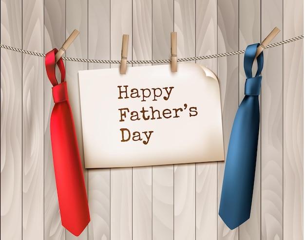 木製の背景に2つのネクタイと幸せな父の日の背景。図。