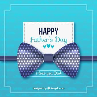 青いリボンと幸せな父の日の背景