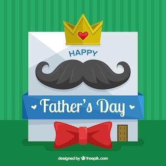 Счастливый день отца с картой в плоском стиле