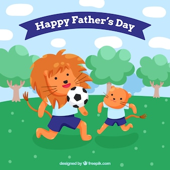 Happy father's day background with cute animals playing soccer