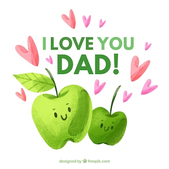Happy father's day background with cute apples