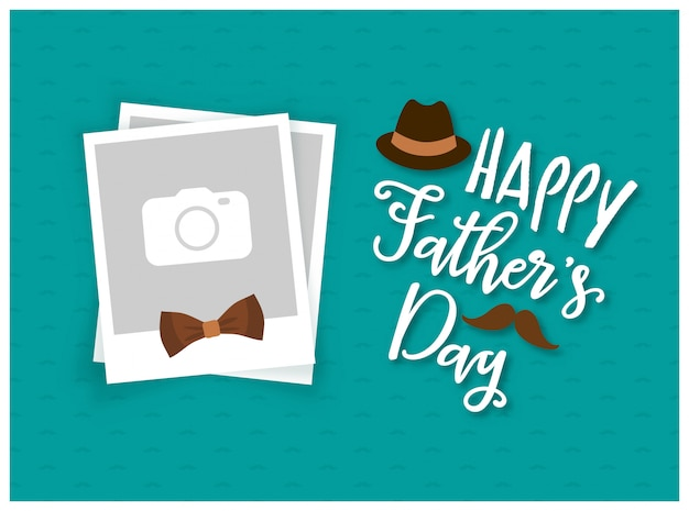 Happy father's day background with photo frame