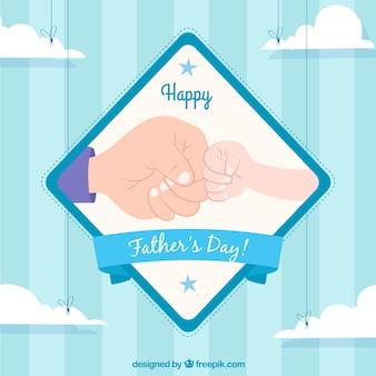 握手のショックを持つ幸せな父の日の背景