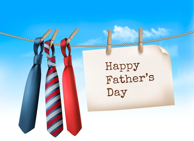 Happy father's day background with a three ties on rope.  illustration