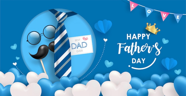 Happy father's day banner template. many blue and white heart balloons on blue background with tie, glasses and mustache elements.