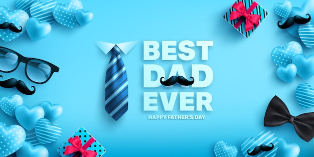 Happy father's day banner template with cute heart,gift box,necktie and glasses.greetings and presents for father's day