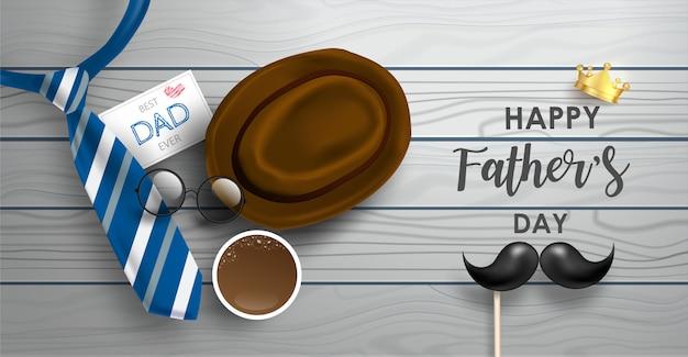 Счастливый день отца баннер с галстуком, усы, круг очки и элементы.