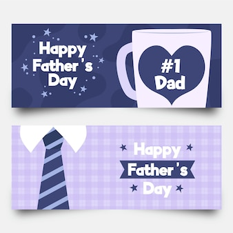 Happy father's day banners with mug and tie