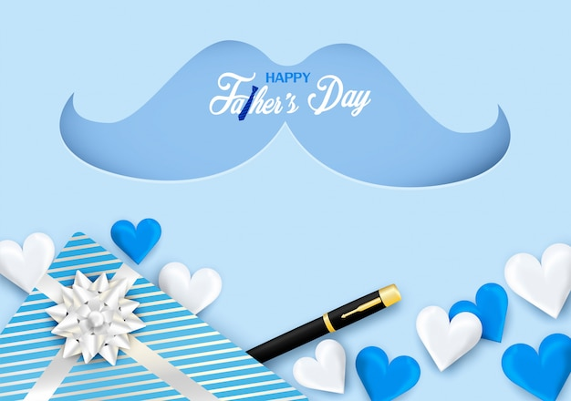 Happy father's day calligraphy greeting card. design with heart, necktie on blue background.