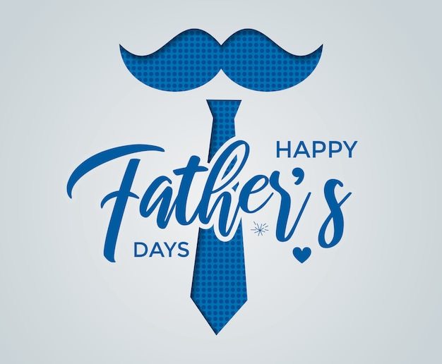 Happy father's day calligraphy greeting card with paper cut effect