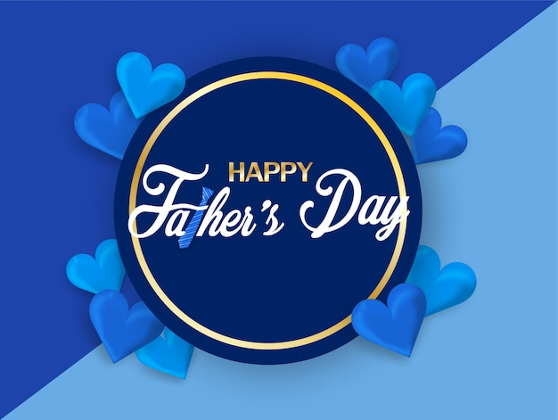 Happy father's day calligraphy greeting card.
