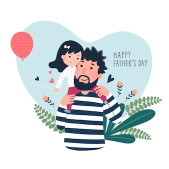 Happy father's day card. cute little girl on her fathers shoulder in heart shaped