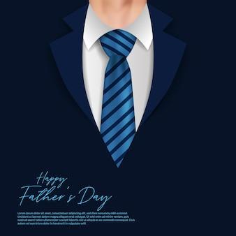 Счастливый день отца карта с реалистичным бизнесменом с пальто и типографикой