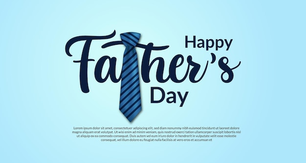 Happy father's day card with typography with realistic tie decoration with blue