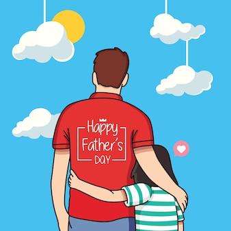 幸せな父の日漫画イラスト