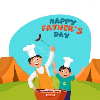 息子と父デュオとの幸せな父の日のお祝いのコンセプトは、キャンプで料理を楽しんでいます。