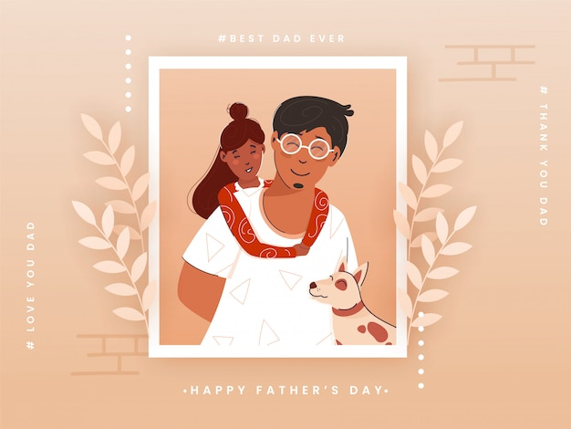 Счастливая концепция дня отца при девушка обнимая ее изображение отца и шарж собаки на предпосылке персика.