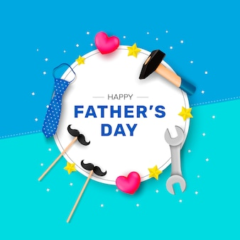 Happy father's day. congratulation on a white round shape with a hammer, tie, wrench and stars.