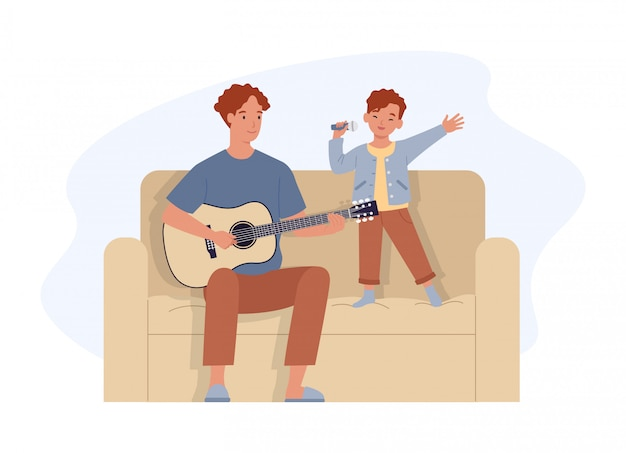 幸せな父の日。ギターを弾き、息子と歌うお父さん。父と彼の小さな子供は一緒に楽しい時間を過ごします。フラットスタイルのイラスト