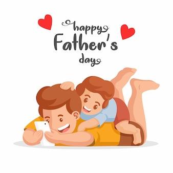 幸せな父の日。家族の娯楽のコンセプトです。父と息子が携帯電話のガジェットでビデオを見て。彼の父のイラストの体に乗った少年。