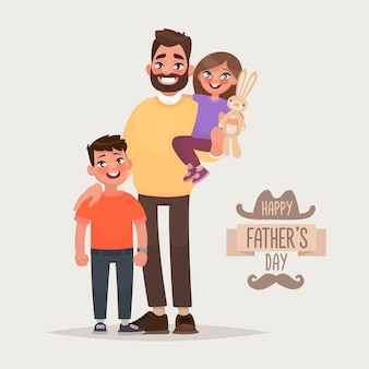 Happy father's day. father with his son and daughter. greeting card. vector illustration in cartoon style