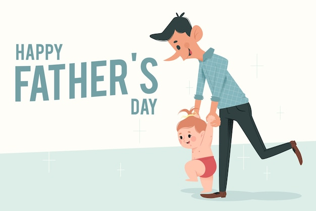 Happy father's day flat design