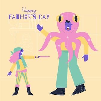Счастливый день отца плоский дизайн