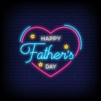 Счастливый день отца для плаката в неоновом стиле