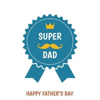 해피 아버지의 날 인사말 badg. 슈퍼 아빠. 플랫 스타일 템플릿.