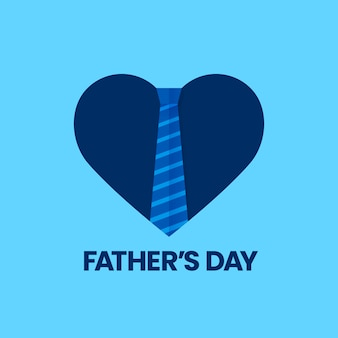 Happy father's day greeting card celebration with love heart symbol and isolated striped work tie
